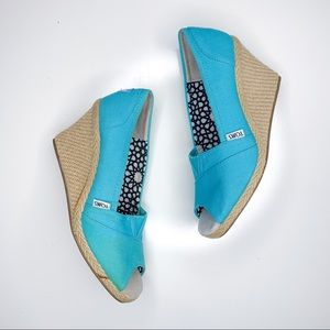 Toms Calypso Aqua Canvas Peeptoe Wedge